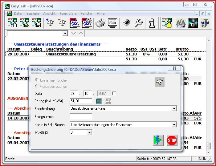 Screenshot vom Programm: EasyCash&Tax